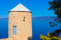 Old Wind mill at Greek Island Hydra Royalty Free Stock Photography