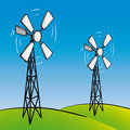Old wind turbines (vector) Royalty Free Stock Photo