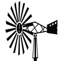 Old windmill black silhouettes for your design Royalty Free Stock Photography