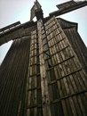 Old windmill made of wood historical cultural building