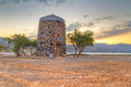 Old windmill ruin at Mirabello Bay Stock Photos