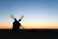 Old windmill silhouette Royalty Free Stock Photo