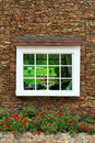 Old window and brick wall Royalty Free Stock Image