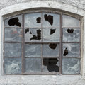 Old window with broken glass Royalty Free Stock Photo