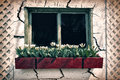 Old Window in a Cracked Wall with a Flower Box - Retro, Faded, I Royalty Free Stock Photo