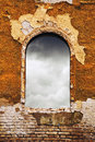 Old window dark clouds through an obsolete Royalty Free Stock Photos