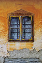 Old window dilapidated in the ruined building painted in colorful which is still in use Stock Images