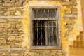 Old window frame brown wall and brown Royalty Free Stock Photo