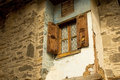Old window frame brown wall and brown Stock Photography