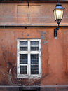 Old window and lantern Royalty Free Stock Image