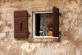 Old window in the old house in rovinj croatia Stock Photography