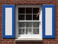 Old window with shutters and curtain Stock Photography