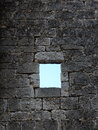 Old window in stone work wall leaded glass french architectural heritage templar castle Royalty Free Stock Photo