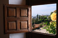 Old window view at summer landscape through with wooden shutter Stock Photography