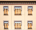 Old windows in Arabian style at Cordoba Spain - architecture bac Royalty Free Stock Photo
