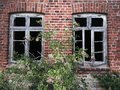 Old windows two in brickwall Royalty Free Stock Image