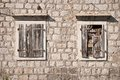 Old windows wooden in perast montenegro Royalty Free Stock Photos