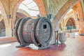 Old wine barrel from seventeen century in codorniu winery the entrance hall is located sant sadurni d anoia near Stock Images