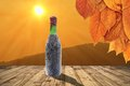 Old wine bottle on table a with view to the beautiful landscape Stock Images