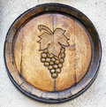 Old wine cask with grape symbol Royalty Free Stock Photos