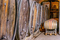 Old wine cellar with barrels an wooden Royalty Free Stock Photo