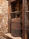 An old wine press from the early s this italian was used by hand to ripe grapes that would be turned into for the local Stock Photography