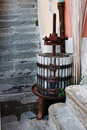 Old wine press in village Stock Photo