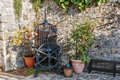 Old wine press in the yard Royalty Free Stock Photo