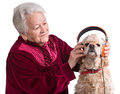 Old woman with american cocker spaniel