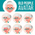 Old Woman Avatar Set Vector. Face Emotions. Senior Person Portrait. Elderly People. Aged. Facial, People. Positive