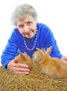Old woman with bunny Stock Photography