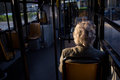 Old woman in bus Royalty Free Stock Image