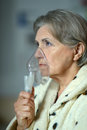 Old woman feel unwell portrait of an Royalty Free Stock Photos