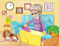 Old woman ironing clothes in a room Royalty Free Stock Photo