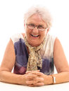 Old woman laughing Royalty Free Stock Photo