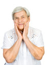 Old woman with a look of shock on her face isolated white Royalty Free Stock Image