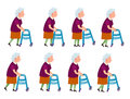 Old Woman with Rolling Walker Simple Cartoon Style Royalty Free Stock Photo