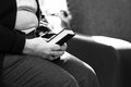 Old woman s hands on bible an black and white image of Royalty Free Stock Photo