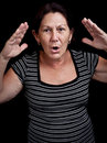 Old woman screaming Royalty Free Stock Photo