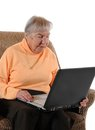 Old woman senior with a laptop Royalty Free Stock Photography