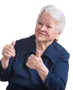 Old woman showing ok sign on a white background Royalty Free Stock Photo