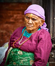 Old woman sit in the retirement home kathmandu nepal founded by mother teresa rajrajeshwari temple near pashupatinath temple Stock Photography