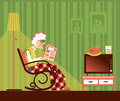 Old woman sitting and reading newspaper in rocking chair in his room vector pensioner s room isolated for design Royalty Free Stock Image