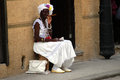 Old woman smoking cigar street havana cuba Royalty Free Stock Image