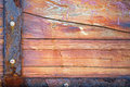 Old wood background with rusty iron vignette cracked Royalty Free Stock Image