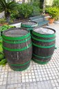 Old wood barre barrels for wine on a private garden Stock Image