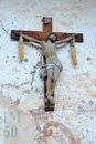 Old wood crucifix in val di funes italy Royalty Free Stock Photography