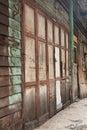Old wood door the in slum bangkok Stock Images