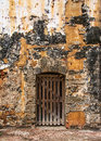 Old wood door an of an spanish fortress in san juan puerto rico Royalty Free Stock Image
