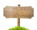 Old wood road sign with grass isolated on white Royalty Free Stock Photo